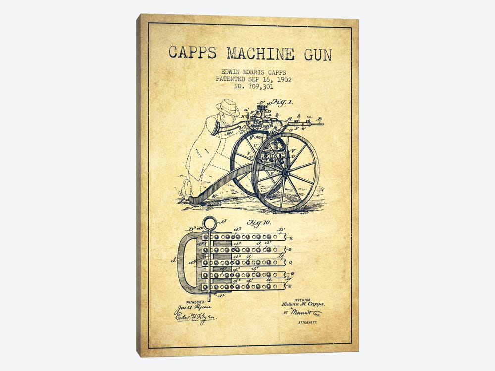 Capps Machine Gun Vintage Patent Blueprint by Aged Pixel 1-piece Art Print