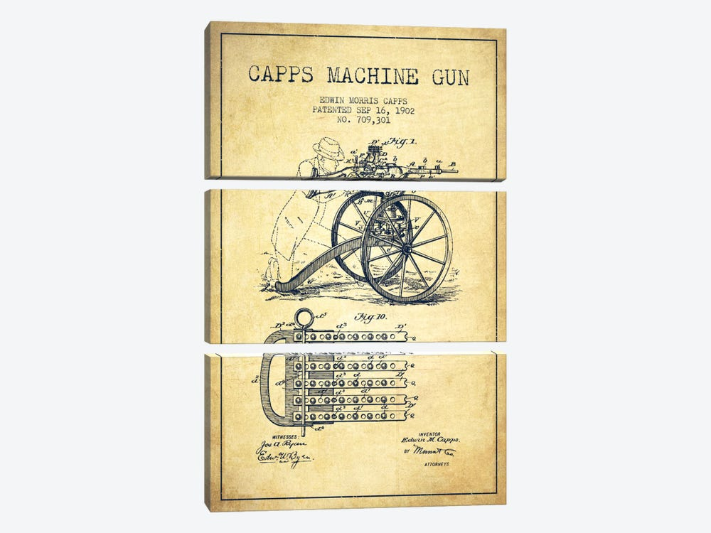 Capps Machine Gun Vintage Patent Blueprint by Aged Pixel 3-piece Art Print