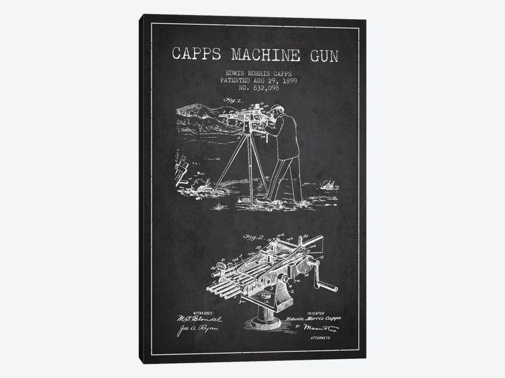 Capps M Gun Charcoal Patent Blueprint 1-piece Canvas Artwork