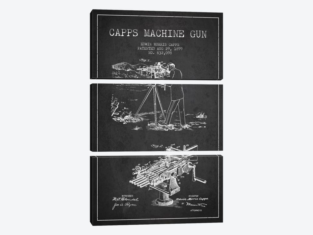 Capps M Gun Charcoal Patent Blueprint 3-piece Canvas Artwork
