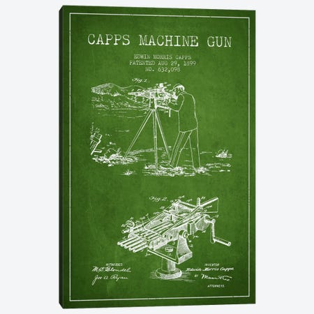 Capps M Gun Green Patent Blueprint Canvas Print #ADP1365} by Aged Pixel Canvas Art