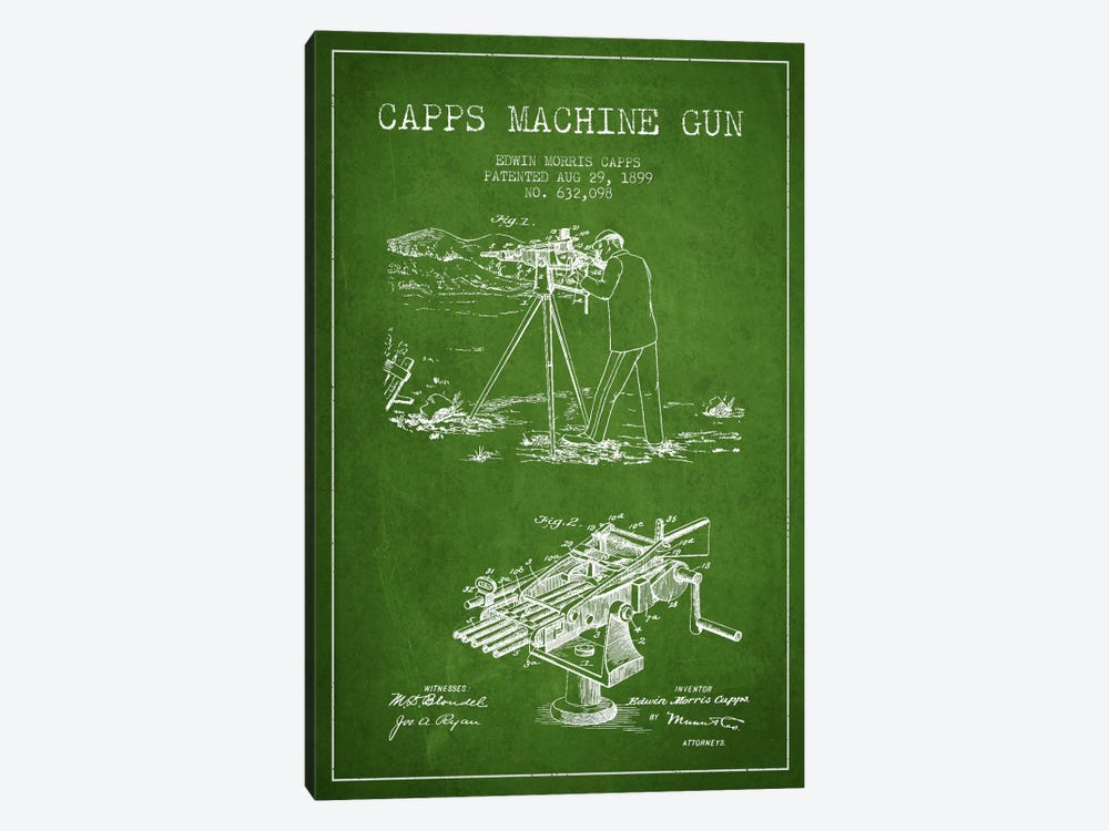 Capps M Gun Green Patent Blueprint by Aged Pixel 1-piece Art Print