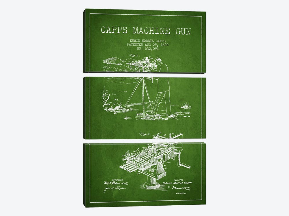 Capps M Gun Green Patent Blueprint by Aged Pixel 3-piece Art Print