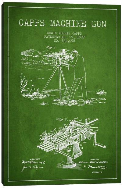 Capps M Gun Green Patent Blueprint Canvas Art Print