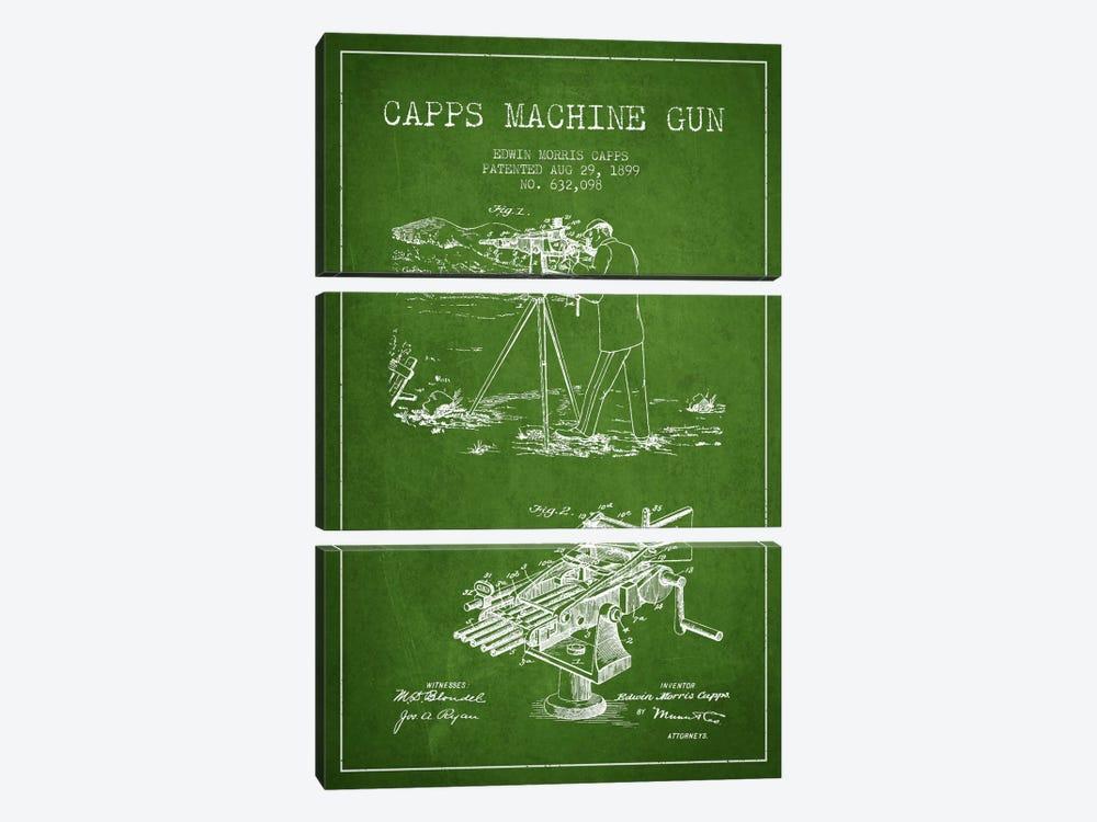 Capps M Gun Green Patent Blueprint by Aged Pixel 3-piece Art Print