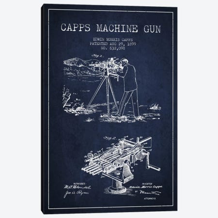 Capps M Gun Navy Blue Patent Blueprint Canvas Print #ADP1366} by Aged Pixel Canvas Artwork