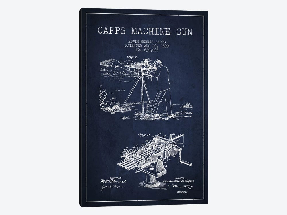 Capps M Gun Navy Blue Patent Blueprint by Aged Pixel 1-piece Canvas Wall Art