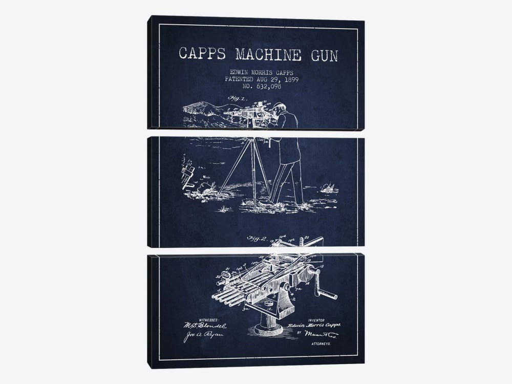 Capps M Gun Navy Blue Patent Blueprint by Aged Pixel 3-piece Canvas Wall Art