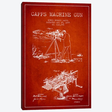 Capps M Gun Red Patent Blueprint Canvas Print #ADP1367} by Aged Pixel Canvas Art