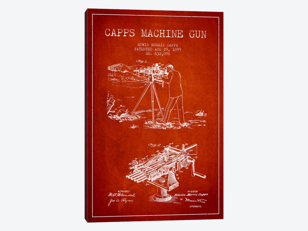 Capps M Gun Red Patent Blueprint by Aged Pixel 1-piece Canvas Art Print