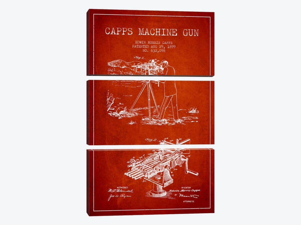 Capps M Gun Red Patent Blueprint by Aged Pixel 3-piece Art Print