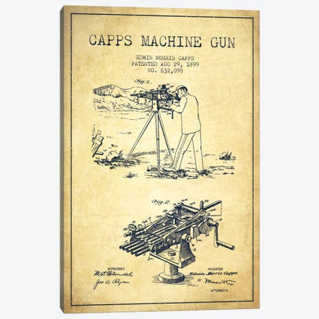 Capps M Gun Vintage Patent Blueprint Canvas Print #ADP1368} by Aged Pixel Canvas Art Print