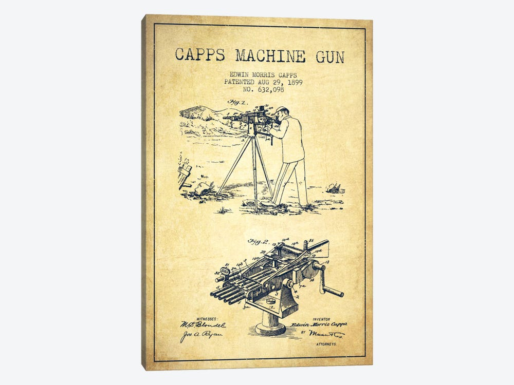 Capps M Gun Vintage Patent Blueprint by Aged Pixel 1-piece Canvas Wall Art