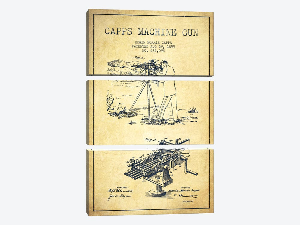 Capps M Gun Vintage Patent Blueprint by Aged Pixel 3-piece Canvas Wall Art