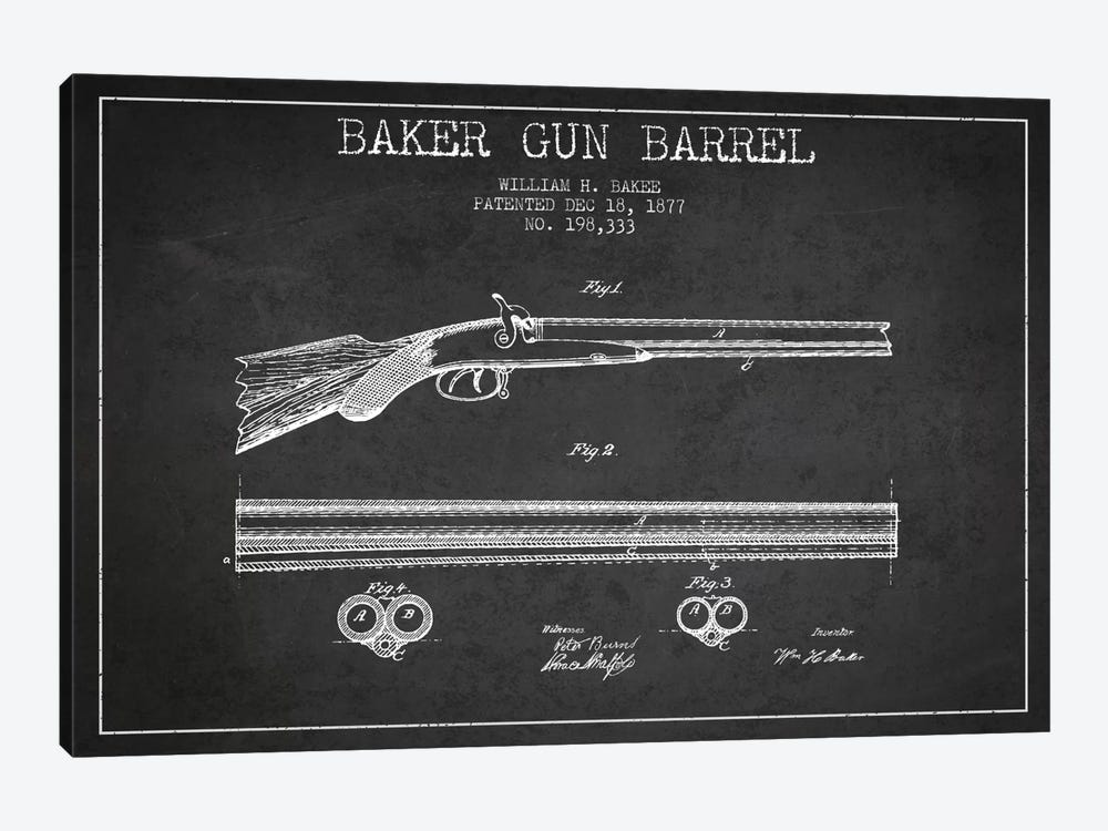 Baker Barrel Charcoal Patent Blueprint by Aged Pixel 1-piece Canvas Art Print