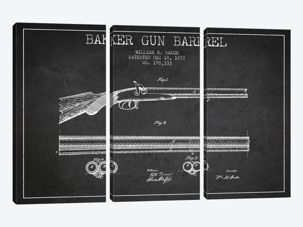 Baker Barrel Charcoal Patent Blueprint by Aged Pixel 3-piece Art Print