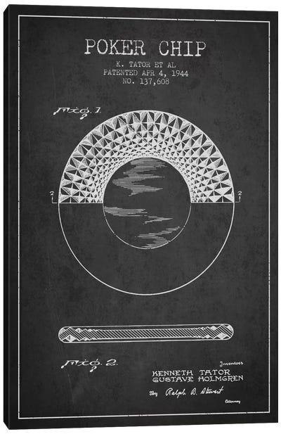 Poker Chip 1 Charcoal Patent Blueprint Canvas Art Print