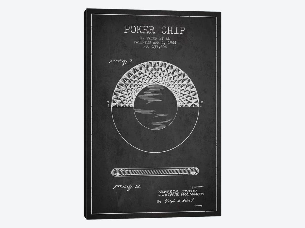 Poker Chip 1 Charcoal Patent Blueprint by Aged Pixel 1-piece Canvas Art Print