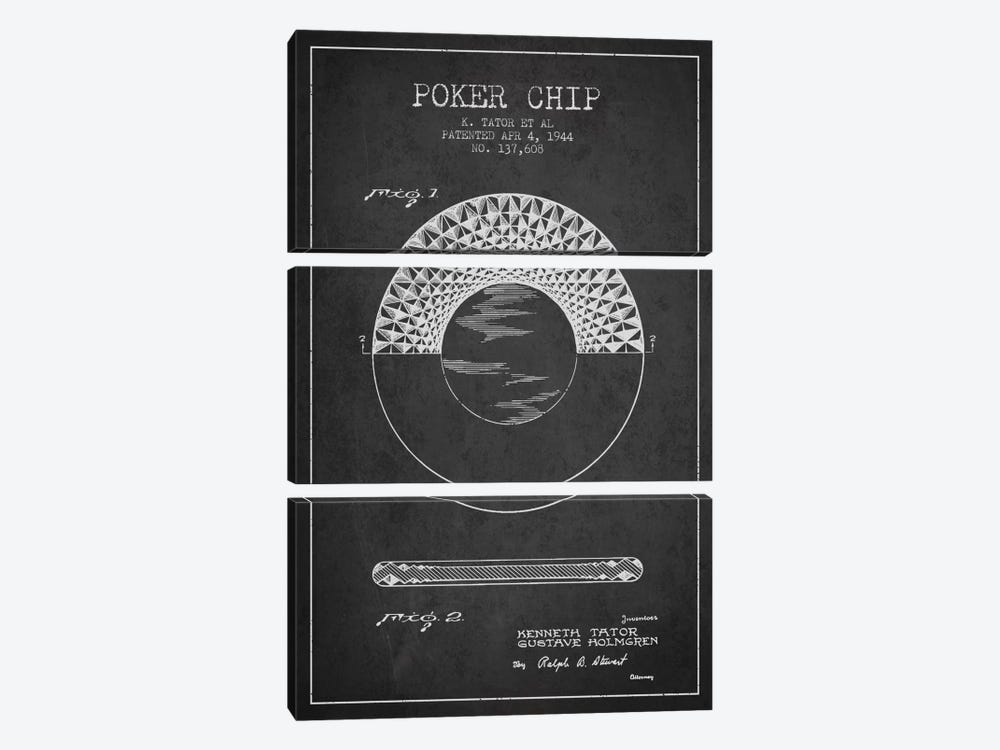 Poker Chip 1 Charcoal Patent Blueprint by Aged Pixel 3-piece Canvas Print