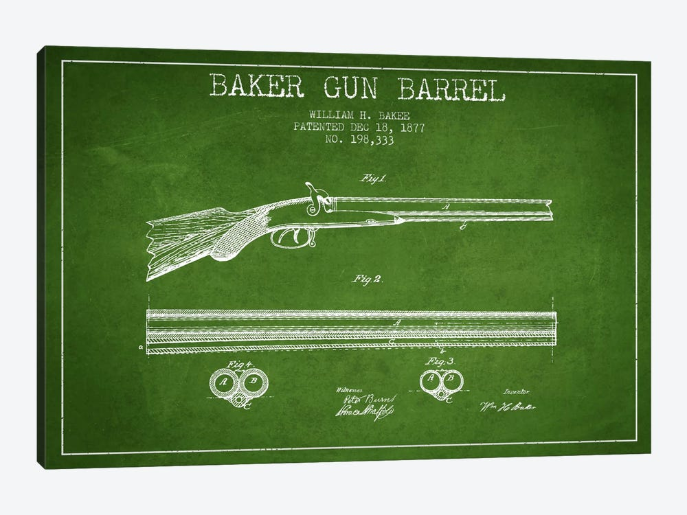Baker Barrel Green Patent Blueprint 1-piece Canvas Art Print