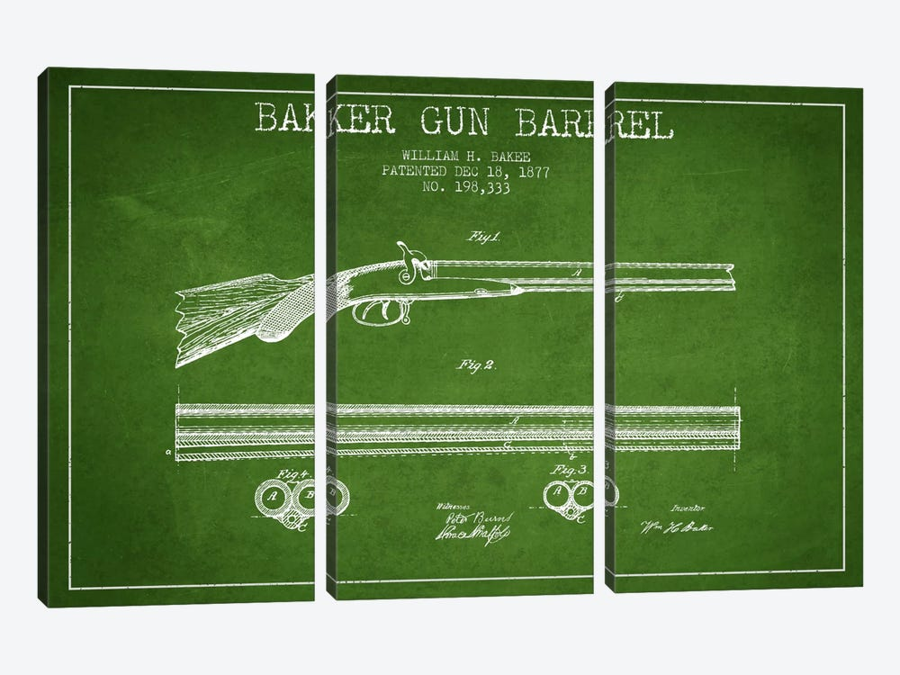 Baker Barrel Green Patent Blueprint by Aged Pixel 3-piece Canvas Art Print