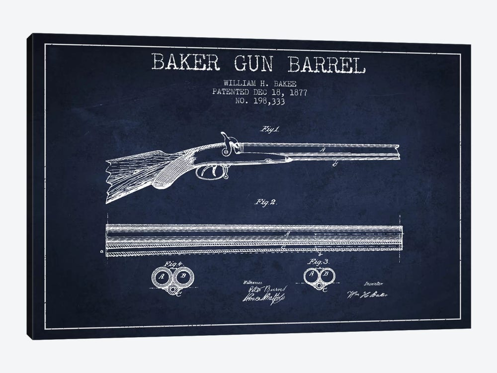 Baker Barrel Navy Blue Patent Blueprint by Aged Pixel 1-piece Canvas Artwork