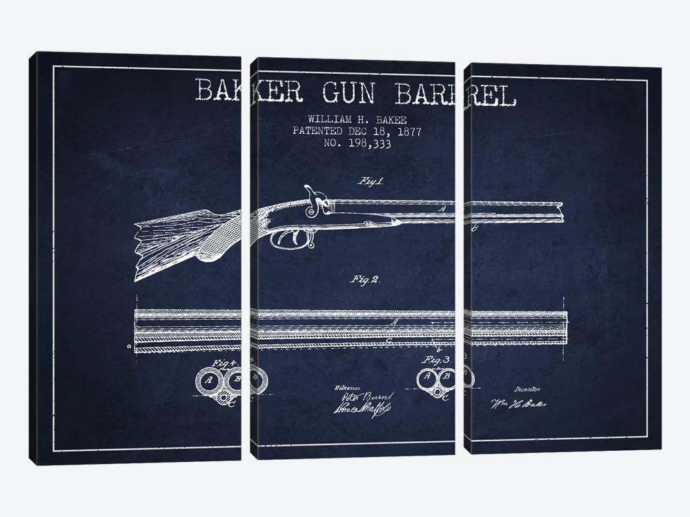 Baker Barrel Navy Blue Patent Blueprint by Aged Pixel 3-piece Canvas Wall Art