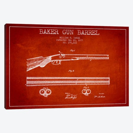 Baker Barrel Red Patent Blueprint Canvas Print #ADP1372} by Aged Pixel Canvas Artwork