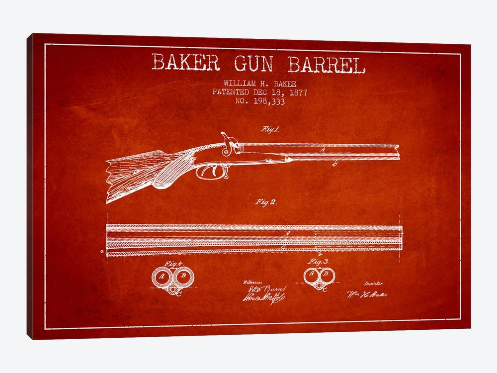Baker Barrel Red Patent Blueprint by Aged Pixel 1-piece Canvas Print