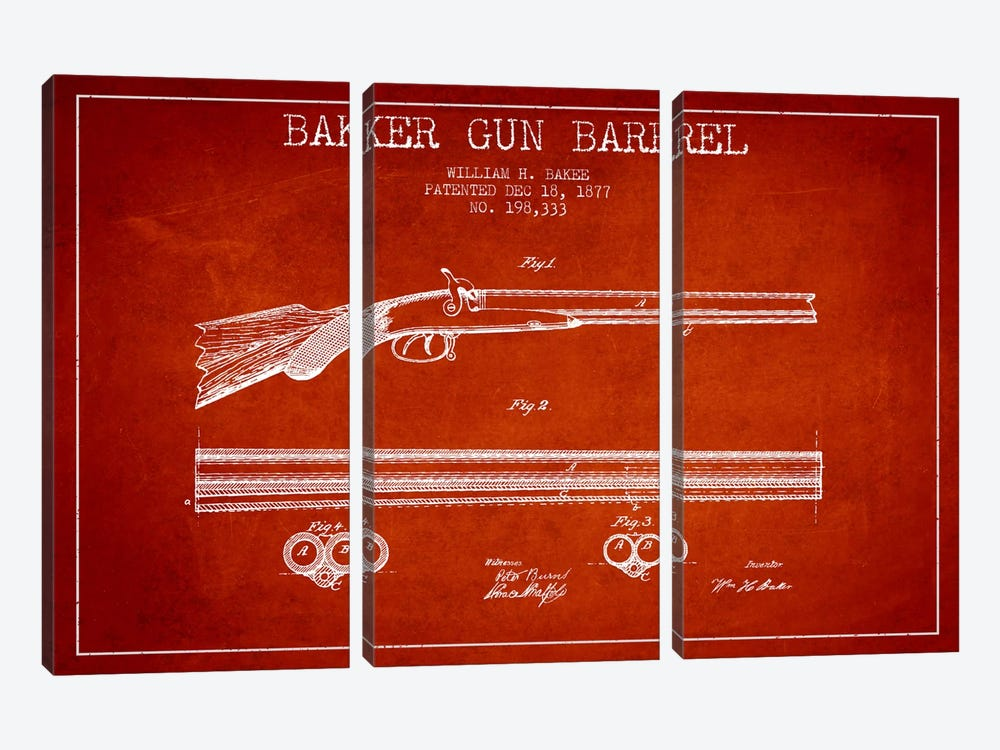 Baker Barrel Red Patent Blueprint by Aged Pixel 3-piece Canvas Art Print