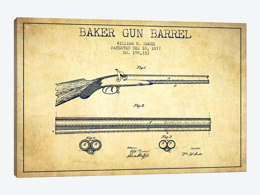 Baker Barrel Vintage Patent Blueprint by Aged Pixel 1-piece Canvas Wall Art