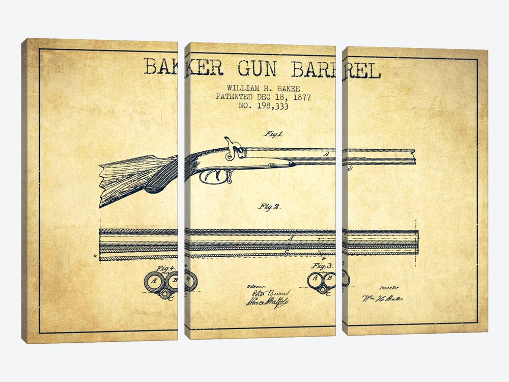 Baker Barrel Vintage Patent Blueprint by Aged Pixel 3-piece Canvas Art