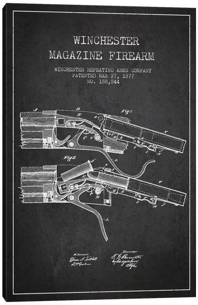 Winchester Rifle Charcoal Patent Blueprint Canvas Art Print