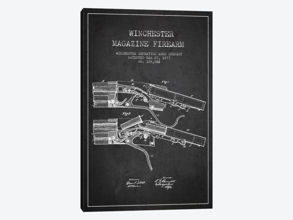 Winchester Rifle Charcoal Patent Blueprint by Aged Pixel 1-piece Canvas Print