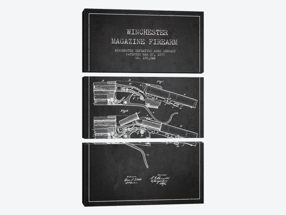 Winchester Rifle Charcoal Patent Blueprint by Aged Pixel 3-piece Art Print