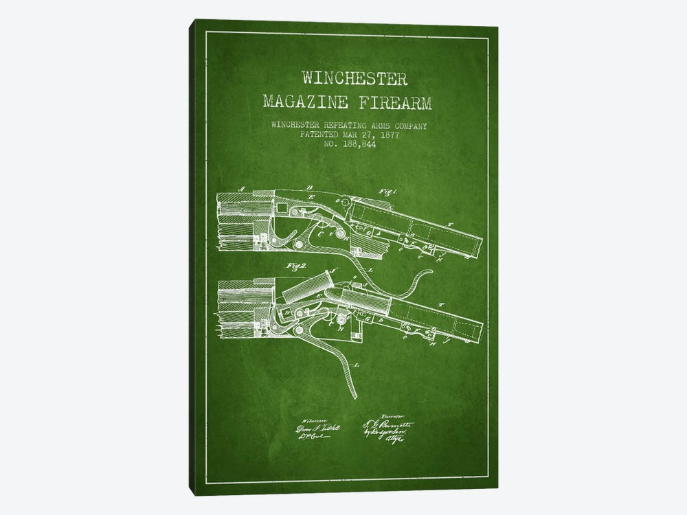Winchester Rifle Green Patent Blueprint by Aged Pixel 1-piece Canvas Art