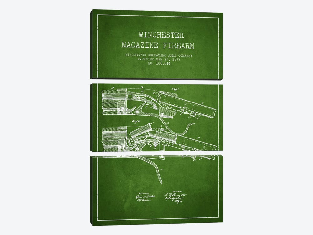 Winchester Rifle Green Patent Blueprint by Aged Pixel 3-piece Canvas Art