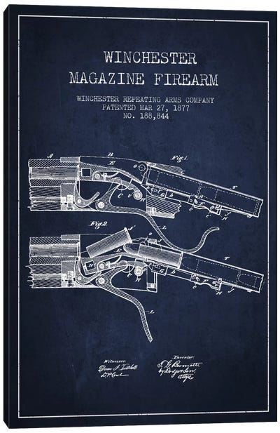 Winchester Rifle Navy Blue Patent Blueprint Canvas Art Print