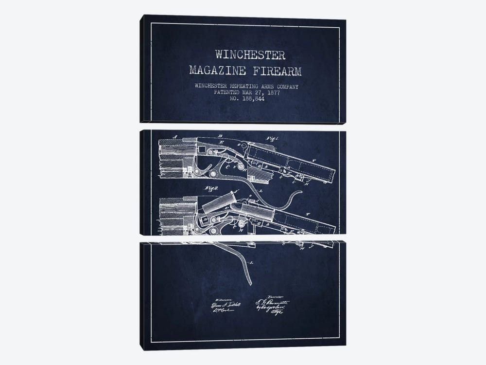 Winchester Rifle Navy Blue Patent Blueprint by Aged Pixel 3-piece Canvas Print