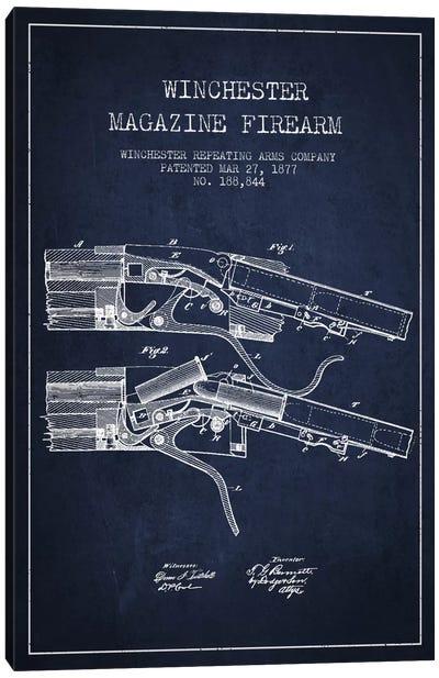 Winchester Rifle Navy Blue Patent Blueprint Canvas Art Print