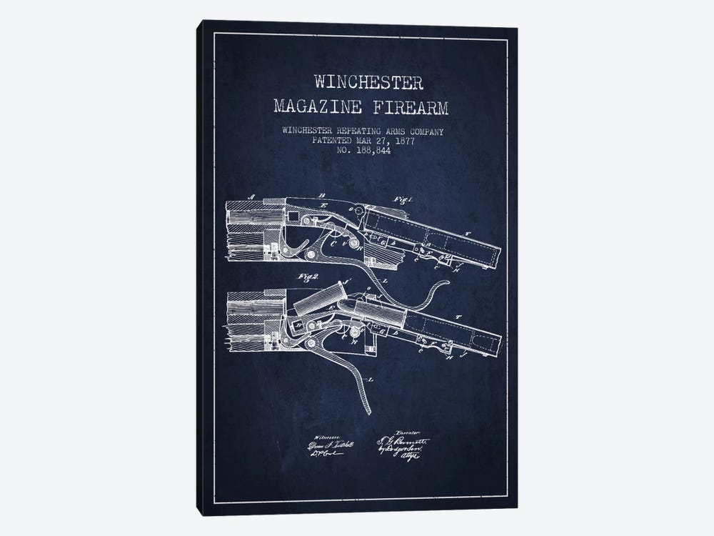 Winchester Rifle Navy Blue Patent Blueprint by Aged Pixel 1-piece Art Print
