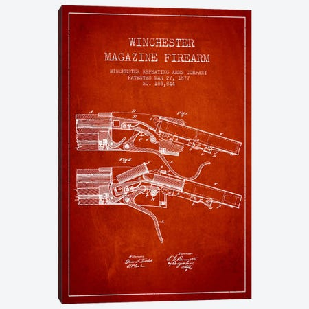 Winchester Rifle Red Patent Blueprint Canvas Print #ADP1377} by Aged Pixel Art Print