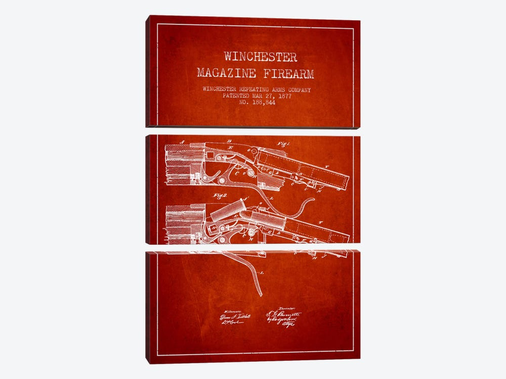 Winchester Rifle Red Patent Blueprint by Aged Pixel 3-piece Canvas Wall Art