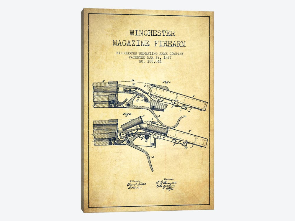 Winchester Rifle Vintage Patent Blueprint 1-piece Art Print