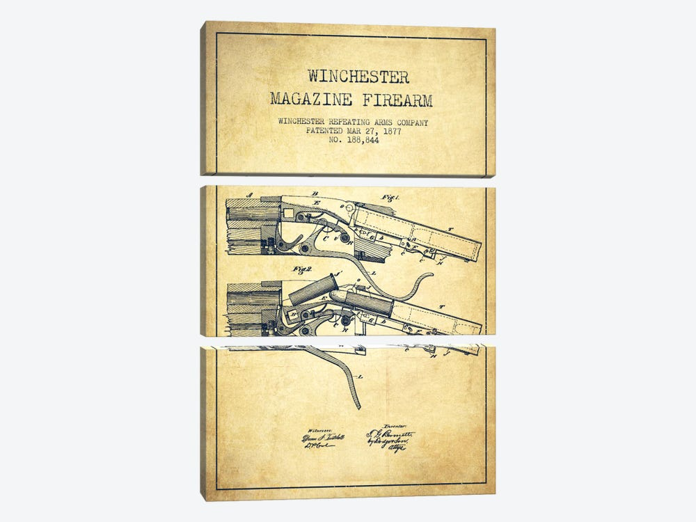 Winchester Rifle Vintage Patent Blueprint by Aged Pixel 3-piece Canvas Art Print
