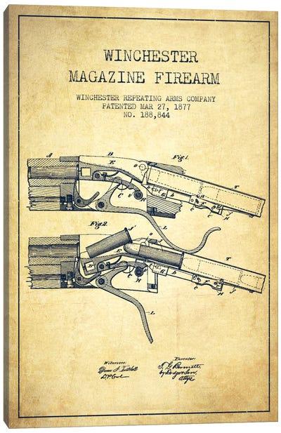 Winchester Rifle Vintage Patent Blueprint Canvas Art Print
