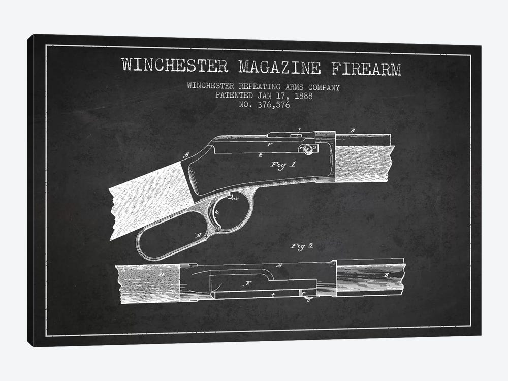 Winchester Fire Arm Charcoal Patent Blueprint by Aged Pixel 1-piece Canvas Art