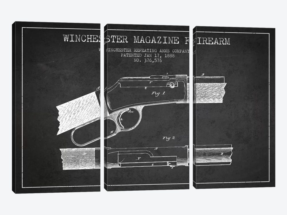 Winchester Fire Arm Charcoal Patent Blueprint by Aged Pixel 3-piece Canvas Artwork