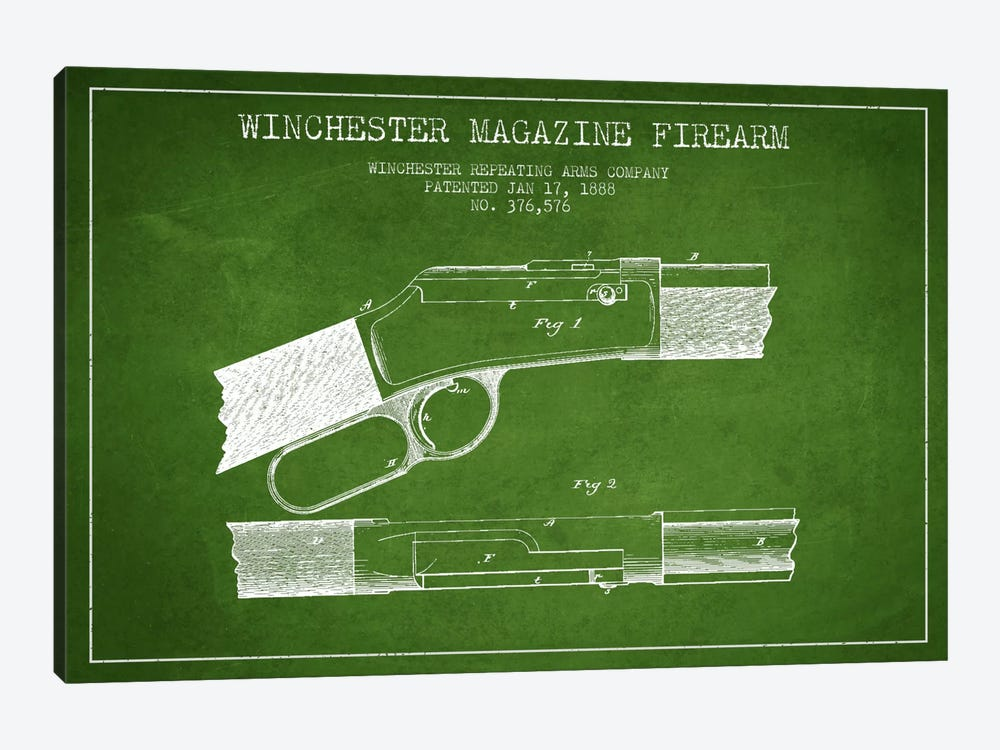 Winchester Fire Arm Green Patent Blueprint by Aged Pixel 1-piece Canvas Art