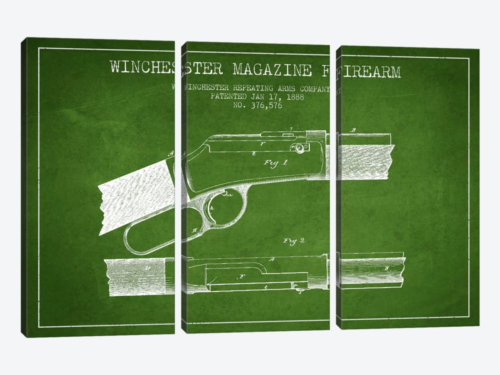 Winchester Fire Arm Green Patent Blueprint by Aged Pixel 3-piece Canvas Artwork